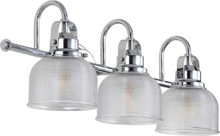 JONATHAN Y JYL7409A Virginia Metal/Glass LED Vanity Classic 2700K Dimmable Cozy Warm Light for Kitchen Hallway Bathroom Stairwell, 3 Bulb, Chrome/Clear