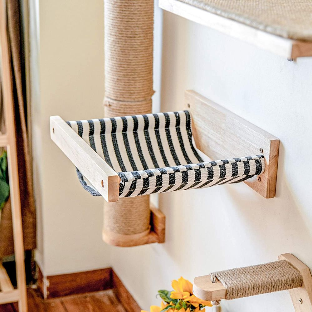 FUKUMARU Cat Hammock Wall Mounted Large Cats Shelf - Modern Beds and Perches - Premium Kitty Furniture for Sleeping, Playing, Climbing, and Lounging - Easily Holds up to 40 lbs