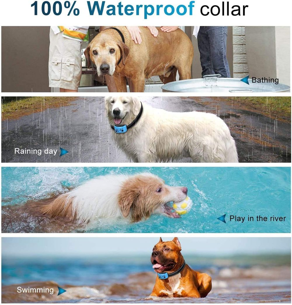 Dog Bark Collar 7 Adjustable Sensitivity and Intensity Levels-Dual Anti-Barking Modes Rechargeable/Rainproof/Reflective-No Barking Control Dog Shock Collar for Small Medium Large Dogs