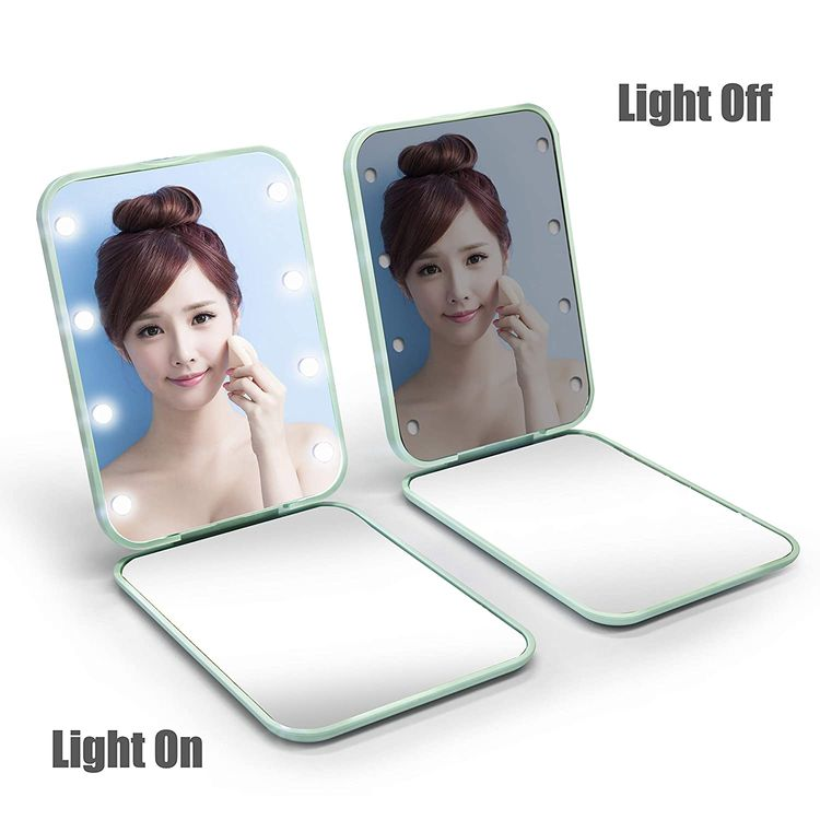 wobsion Compact Mirror, Magnifying Mirror with Light, 1x/3x Handheld 2-Sided Magnetic Switch Fold Mirror,Small Travel Makeup Mirror,Pocket Mirror for Handbag,Purse,Gifts for Girls(Cyan) …