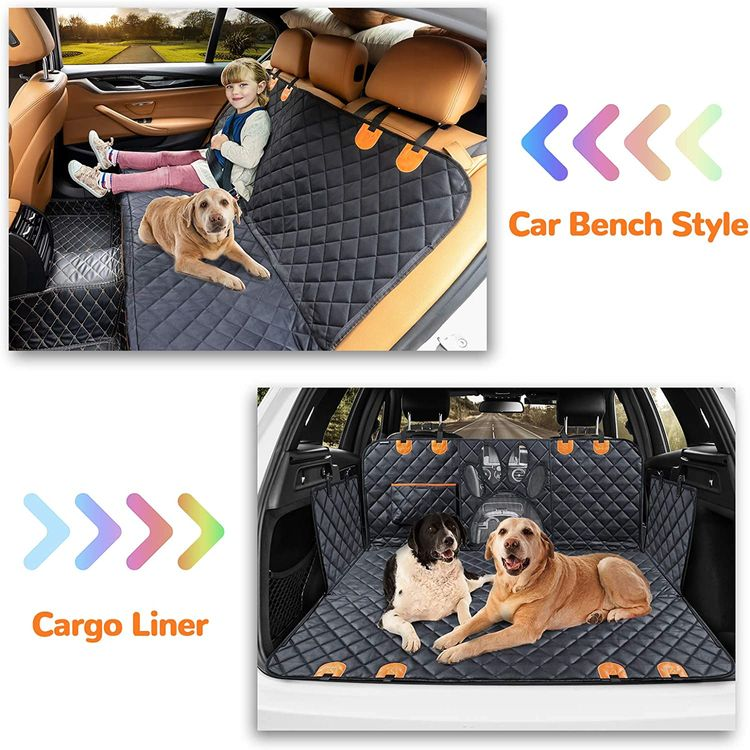 URPOWER Upgraded Dog Seat Covers with Mesh Visual Window 100% Waterproof Dog Car Seat Cover Nonslip Pet Seat Cover for Back Seat with Storage Pockets, Washable Dog Hammock for Cars Trucks and SUVs