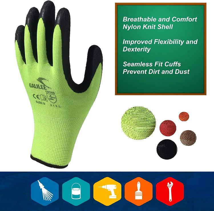 Safety Work Gloves Latex Coated for Men and Women 10-Pair-Pack Knit Firm Grip