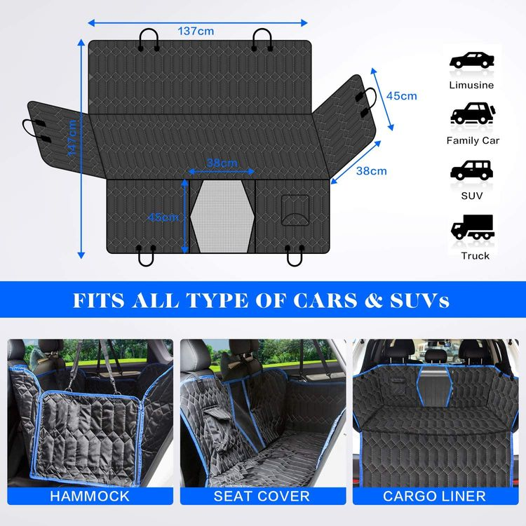 [UpgradedVersion] Dog Car Seat Cover for Back Seat, 100% Waterproof Back Seat with Mesh Window, Scratch Proof Nonslip Dog Car Hammock for All Cars, Trucks