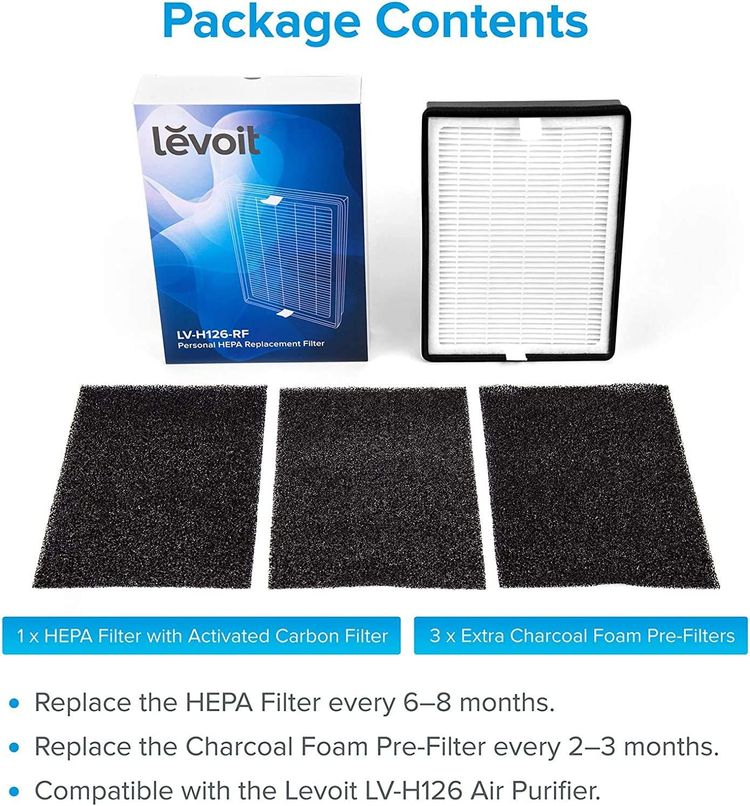LEVOIT HEPA Air Purifier Replacement Filter, Compatible with LV-H126 Air Purifier, Include 1 True HEPA and Activated Carbon Set, 3 Extra Pre-Filters, LV-H126-RF (Genuine)