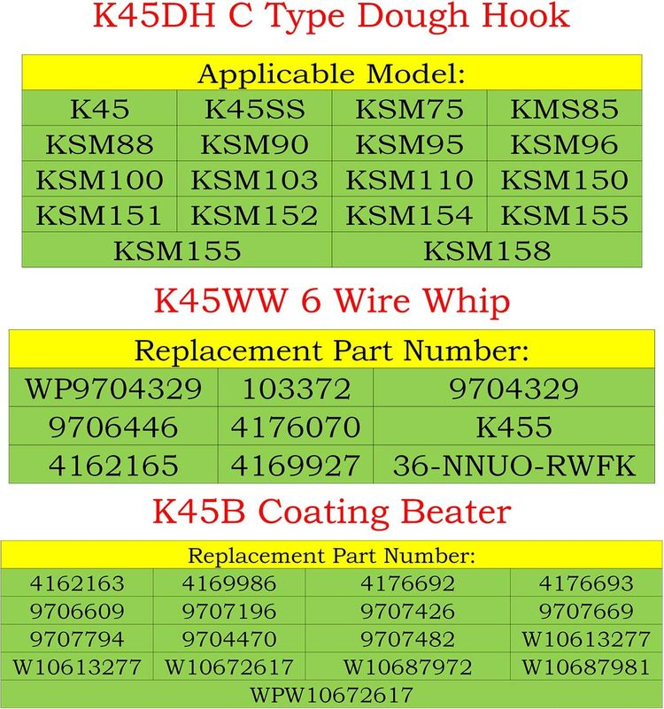 KSM150 Mixer Kit Includes K45WW&K45DH&K45B-K45DH Dough Hook,K45WW Wire Whip and K45B Coated Flat Beater, 3 Pieces Stand Mixers Repair Set Compatible with Kenmore, Roper, Replace