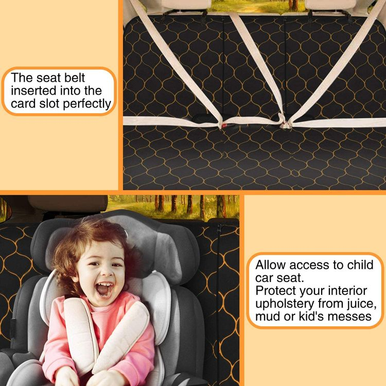 """BABYLTRLL Dog Car Seat Cover Waterproof Pet Bench Seat Cover Nonslip and Heavy Duty Pet Car Seat Cover for Dogs with Universal Size Fits Cars, Trucks and SUVs (56"""" W x 49"""" L, Black)"""