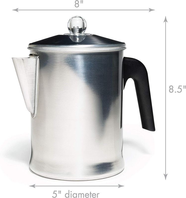 Aluminum Stove Top Percolator Maker Durable, Brew Coffee On Stovetop (9 Cup)