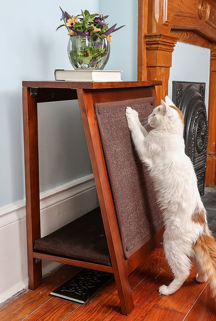 The Refined Feline Wooden Cat Furniture Bed Scratching Post, End Table with Durable Sisal Scratcher Pad