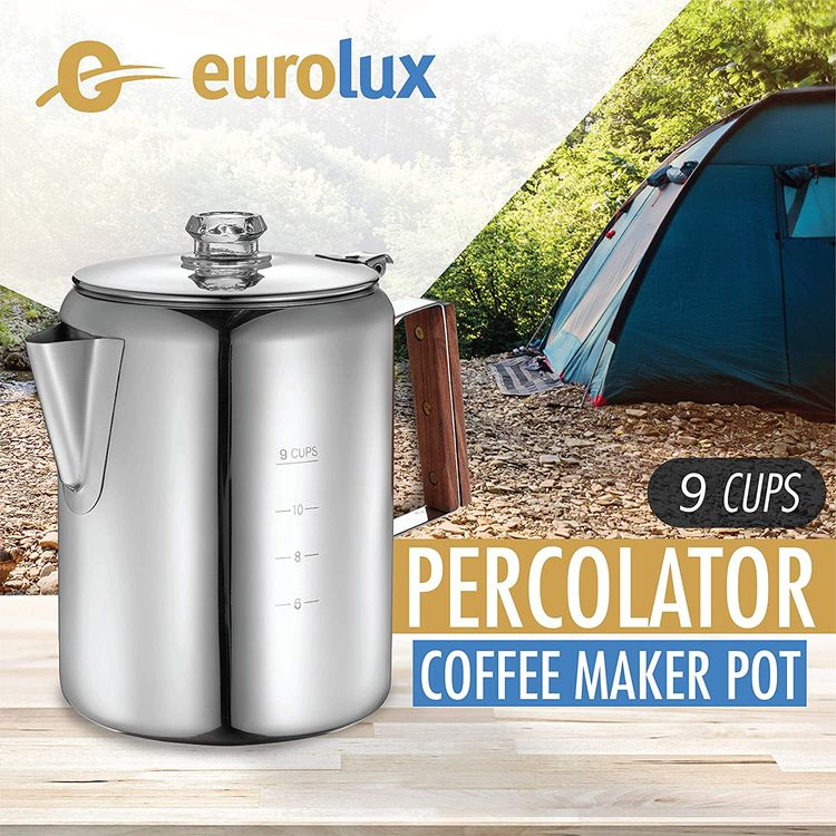 Eurolux Percolator Coffee Maker Pot - 9 Cups   Durable Stainless Steel Material   Brew Coffee On Fire, Grill or Stovetop   No Electricity, No Bad Plastic Taste   Ideal for Home, Camping & Travel