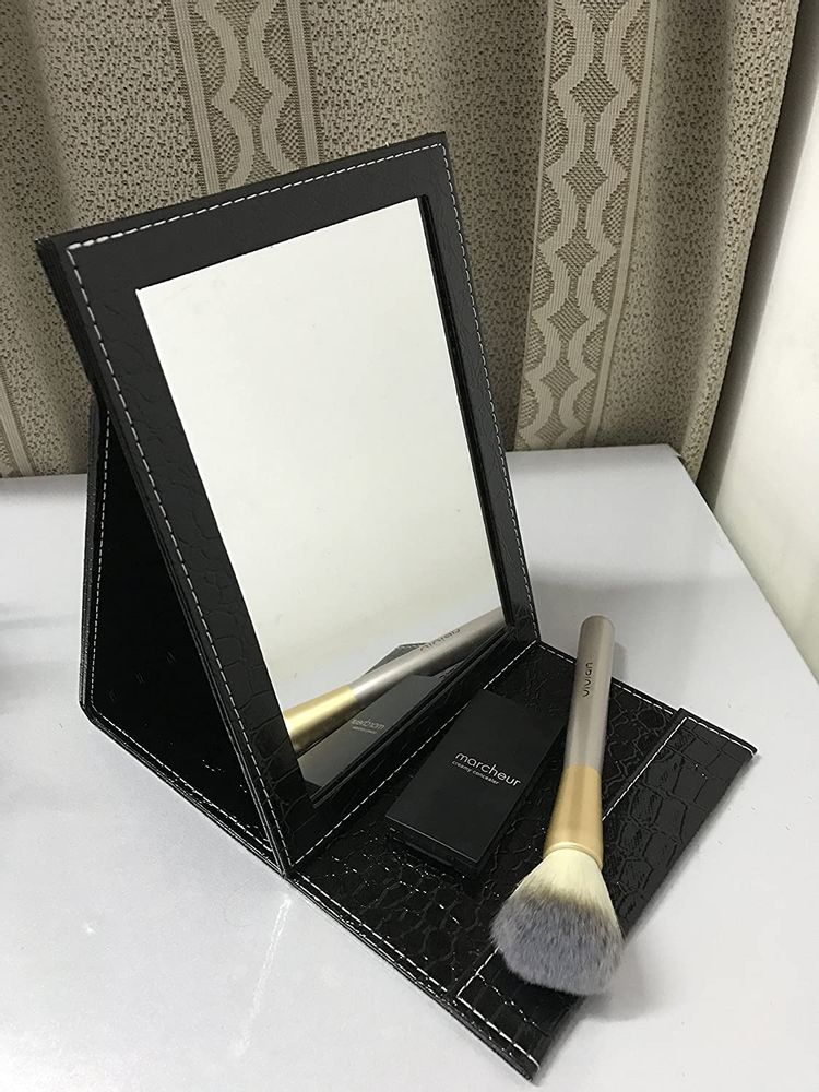 Famiry Portable Folding Vanity Mirror for Bedroom Cosmetic Dresser, Makeup Mirror with Leather Cushioned Cover for Travel