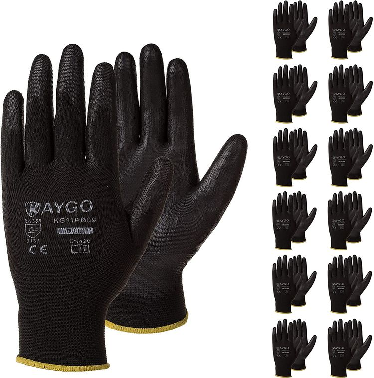 Safety Work Gloves PU Coated-12 Pairs,KAYGO KG11PB, Seamless Knit Glove with Polyurethane Coated Smooth Grip on Palm & Fingers, for Men and Women, Ideal for General Duty Work (Small, Black)
