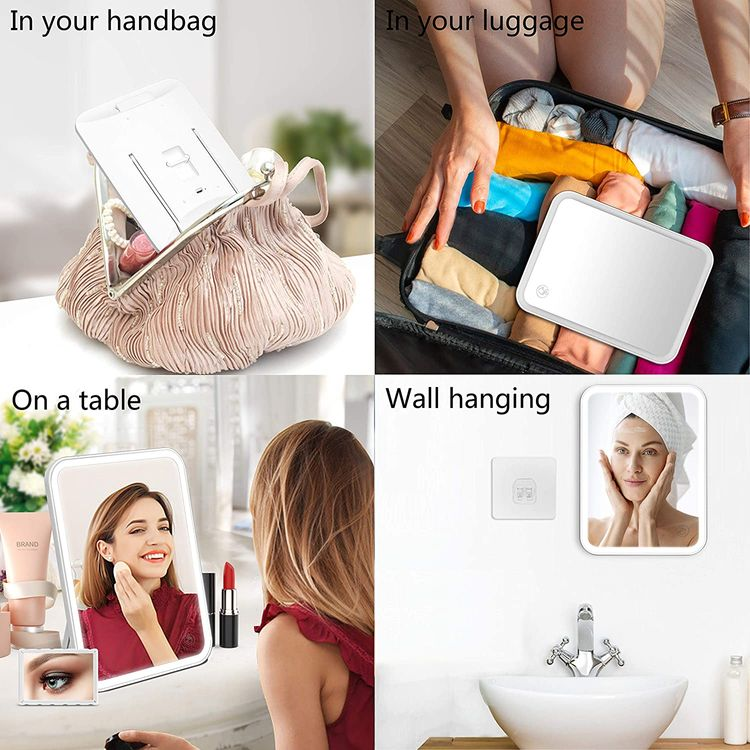 Lighted Vanity Makeup Mirror with Lights 3 Color Lighting Modes Rechargeable Touch Screen Adjustable Tabletop Wall Hanging Led Light Up Mirror with Mini 5X Hand Mirror