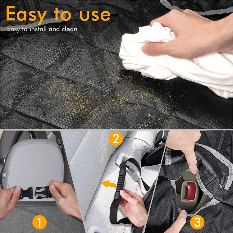 BRONZEMAN 100% Waterproof Bench Car Seat Cover Protector - Strong & Durable,Heavy-Duty and Nonslip Rear Back Seat Cover with Middle Seat Belt,Universal Size Fits for Cars, Trucks & SUVs
