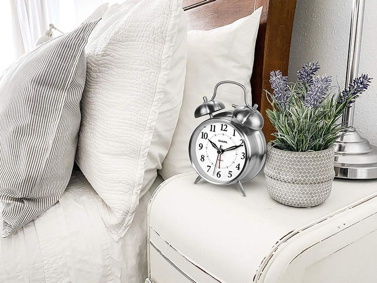 Sharp Twin Bell Alarm Clock - Loud Alarm - Great for Heavy Sleepers - Battery Operated Quartz Analog … (Brushed Silver)