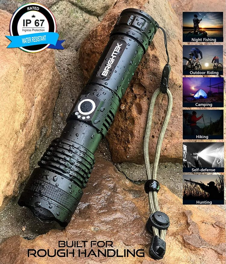 BRIGHTEK Handheld Flashlight 5000 Lumen with 26650 rechargeable Battery LED Tactical Flashlights High Lumens Zoomable 5 Modes Adjustable Focus Water Resistant for Camping Outdoor Emergency