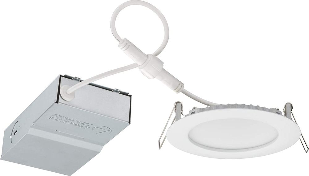4 in. LED Wafer 3000K Warm White Recessed Downlight with Non-Conductive Dead-Front Trim, Matte White