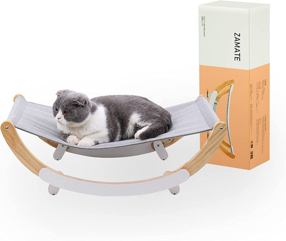 Cat Hammock, Pet Bed, Solid Wood Cat Bed, 2 in 1 Cradle and Hammock, Cat Hanging Bed with Durable Wooden Frame, Cats' Furniture