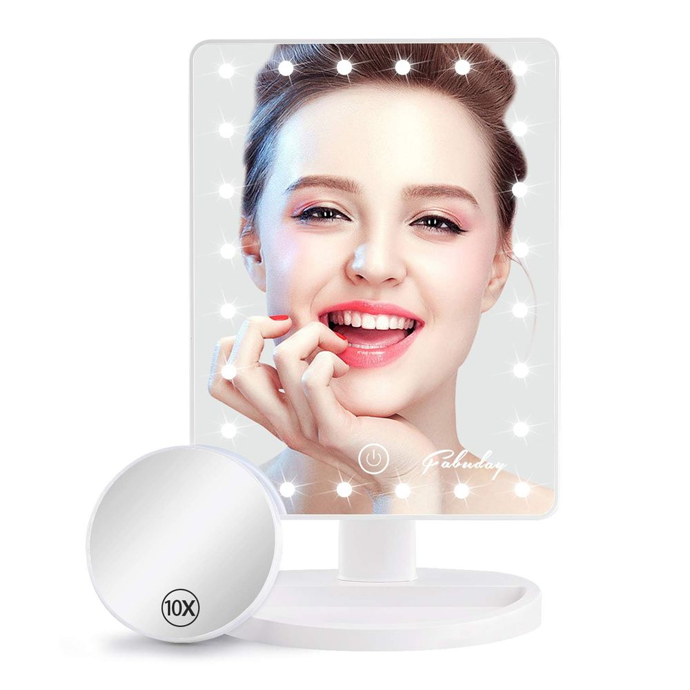 Personal Makeup Mirrors with Lights - Fabuady Lighted Makeup Mirror with Detachable 10X Magnification, Light Up Mirror Touch Screen and Light Adjustable, 180° Rotation, Powered by Battery, White