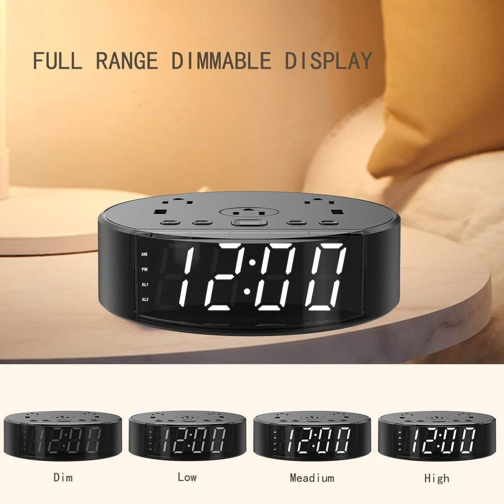Dual Alarm Clock, Digital Alarm Clock, USB Charging Ports and AC Power Outlets, Portable, Battery Backup, Bedroom, Office, Guest Room, Office, Kids, Heavy Sleepers