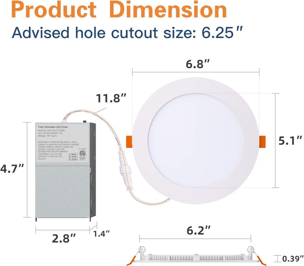 Amico 6 Pack 6 Inch 5CCT Ultra-Thin LED Recessed Ceiling Light with Junction Box, 2700K-5000K Selectable, 12W Eqv 110W, Dimmable Can-Killer Downlight, 1050LM High Brightness - ETL and Energy Star