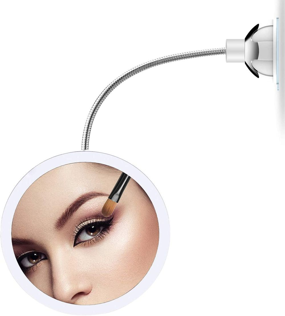 XINBAOHONG LED Lighted Makeup Mirror 10X Magnifying Vanity Mirror with 360 Degree Swivel Rotation Flexible Gooseneck and Locking Suction Cup …