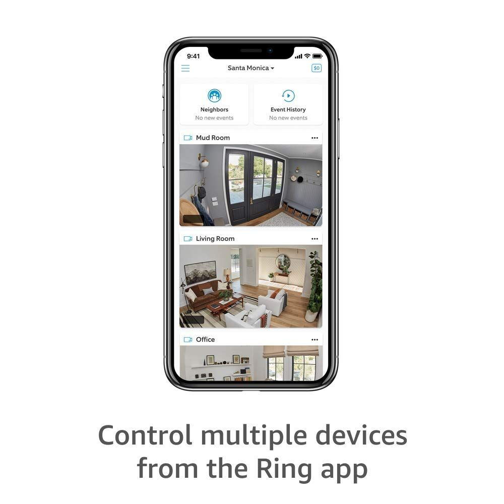 Certified Refurbished Ring Indoor Cam, Compact Plug-In HD security camera with two-way talk, Works with Alexa - White
