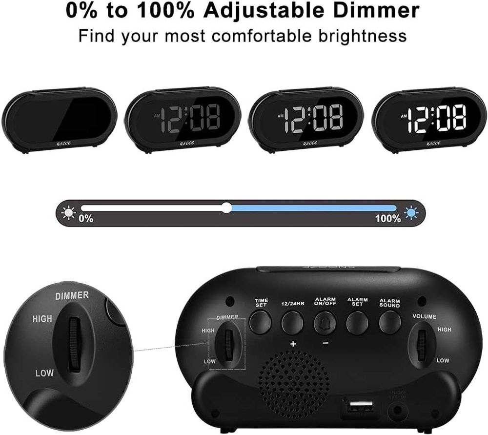 USCCE Small LED Digital Alarm Clock with Snooze, Easy to Set, Full Range Brightness Dimmer, Adjustable Alarm Volume with 5 Alarm Sounds, USB Charger, 12/24Hr, Compact Clock for Bedrooms, Bedside, Desk