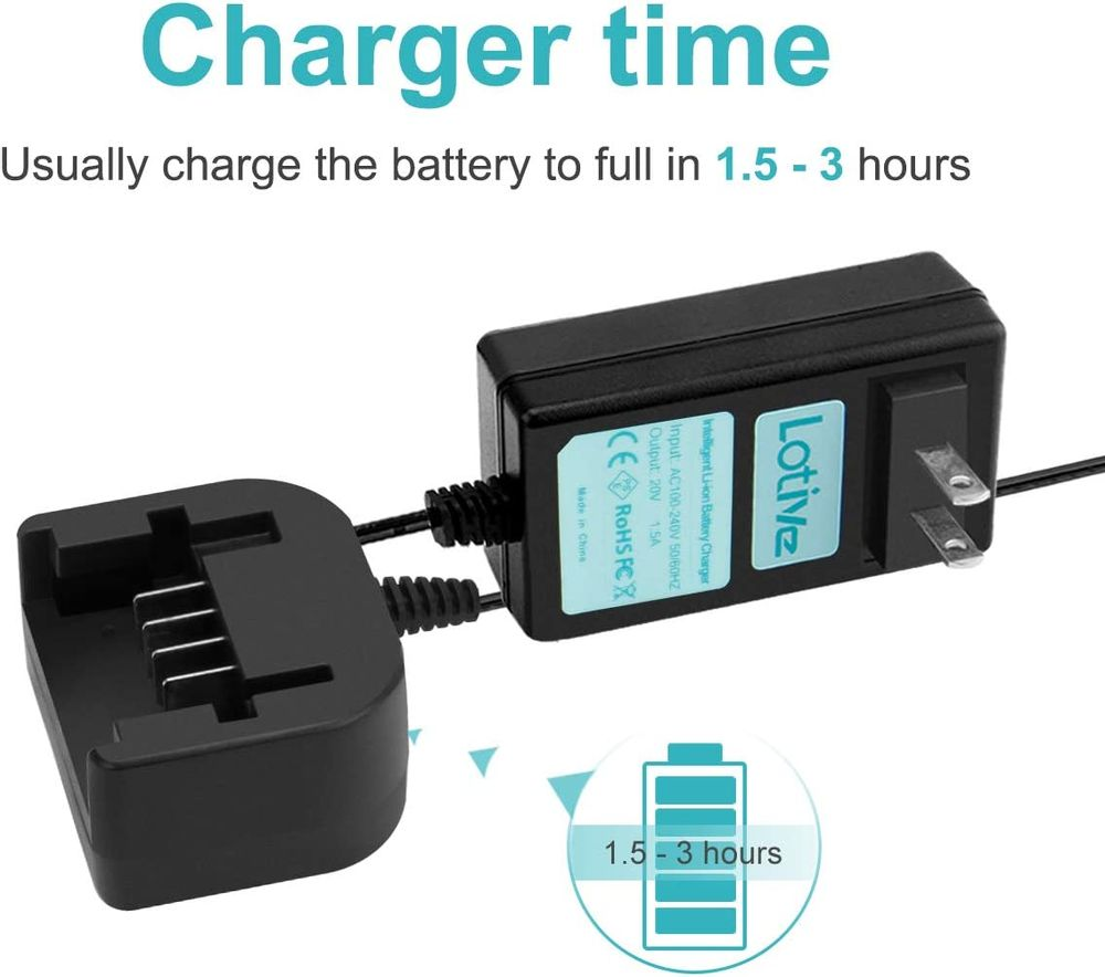 Lotive 20V Lithium Battery Charger Compatible with Black and Decker 20V Lithium Battery LB20 LBX20 LBXR20 LBXR20-OPE LBXR2020-OPE LBXR20B-2 LBX4020 LB2X4020 LB2X4020-2(NOT for Ni-MH/Ni-Cd Battery)