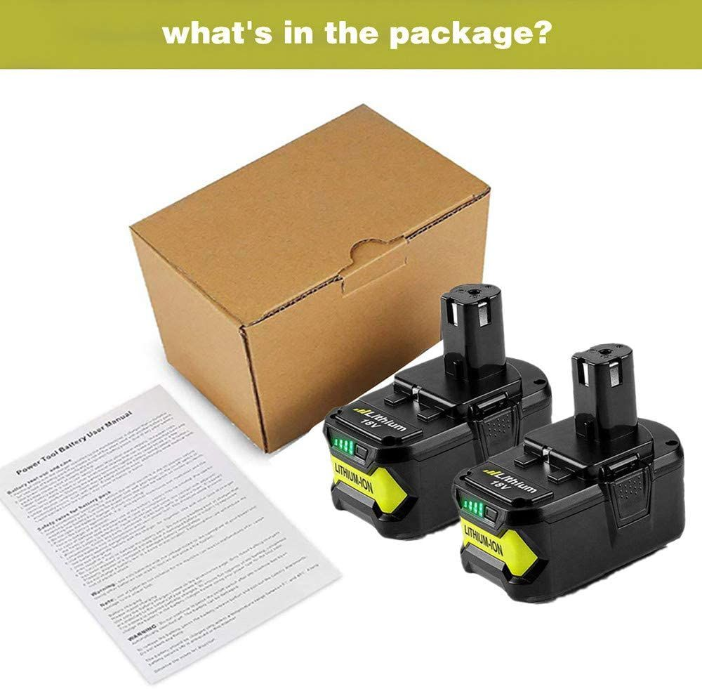 2Pack 6.0Ah 18V Replacement Battery for Ryobi Lithium 18V Battery P108 P100 P102 P103 P104 P105 P107 P109 for Ryobi 18-Volt Battery