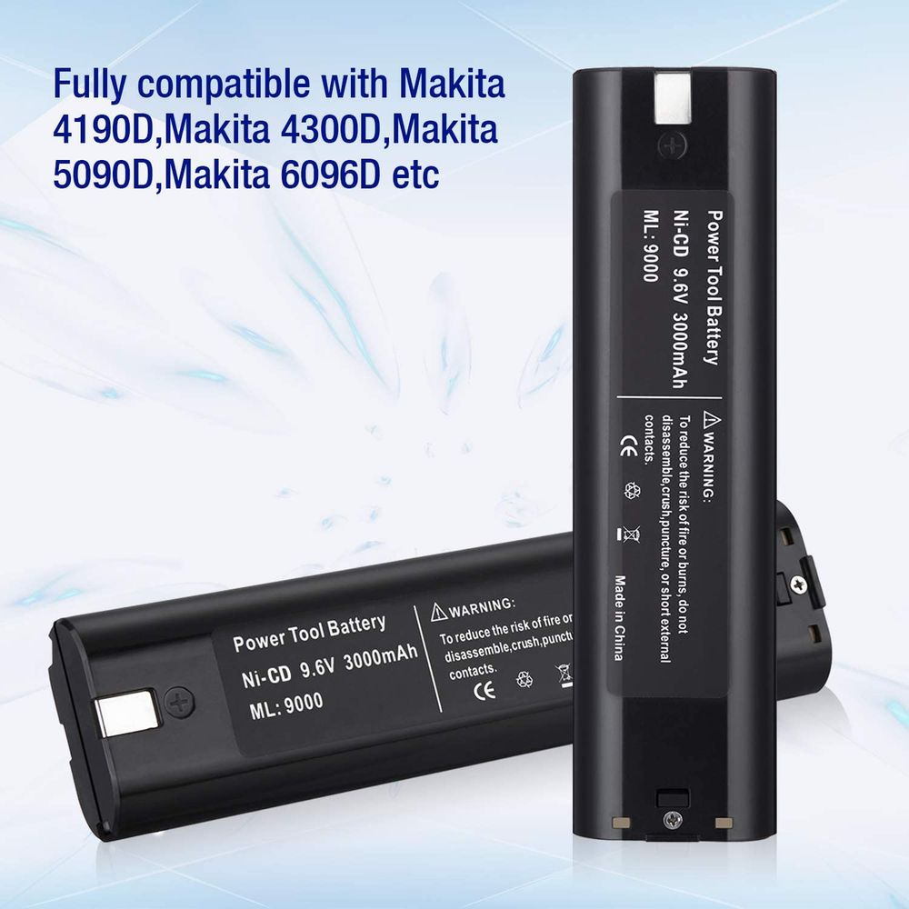 Abaige 2 Pack 9.6V 3000mAh Upgrade Replacement Battery for Makita 9.6V Battery Compatible with 9000 9033 193890-9 192696-2 632007-4 6096D 6093D DA391D 6095D 5090D 4390D 6012HD 5090D 8402VD ML902
