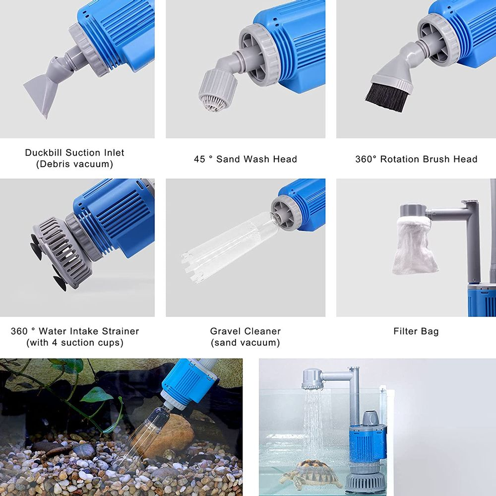 boxtech Upgraded Electric Aquarium Cleaner, 12V DC/28W Auto Fish Tank Gravel Cleaning kit 6 in 1 Change Water and Wash Sand Filter for Aquarium 10-200 Gallon
