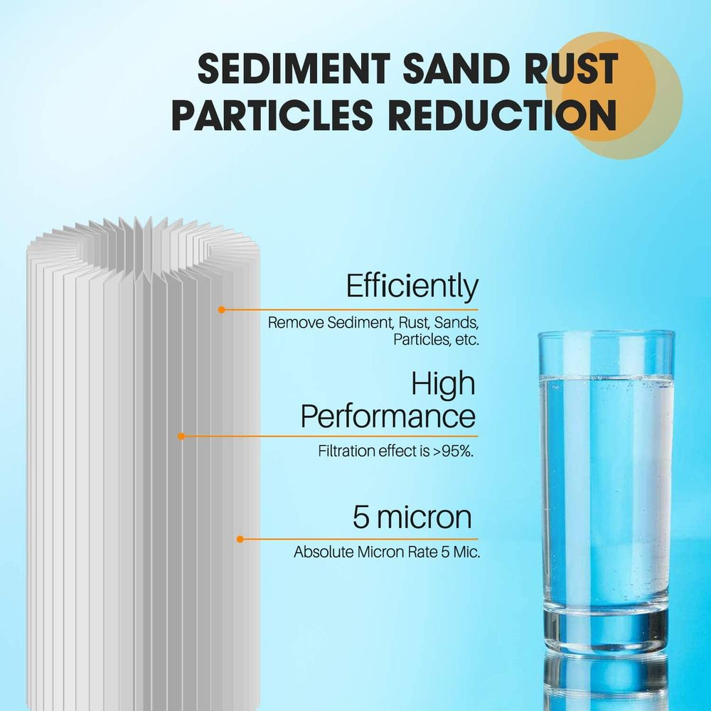 """10"""" x 4.5"""" Whole House Pleated Washable Sediment Filter for Well Water, Replacement Cartridge for GE FXHSC, Culligan R50-BBSA, Pentek R50-BB, DuPont WFHDC3001, American Plumber W50PEHD, GXWH40L, 4PACK"""