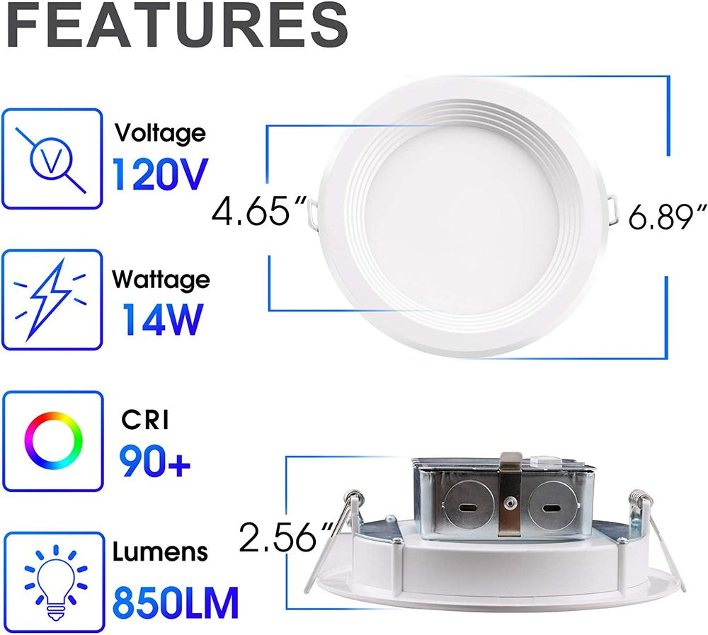 6 Inch LED Slim Recessed Lighting, 14W=85W Equivalent Downlight, Dimmable, CRI 90+, 5 Color Changing(Warm White to Daylight), Simple Retrofit Installation, Wet Rated, Energy Star & ETL Listed, 12 Pack