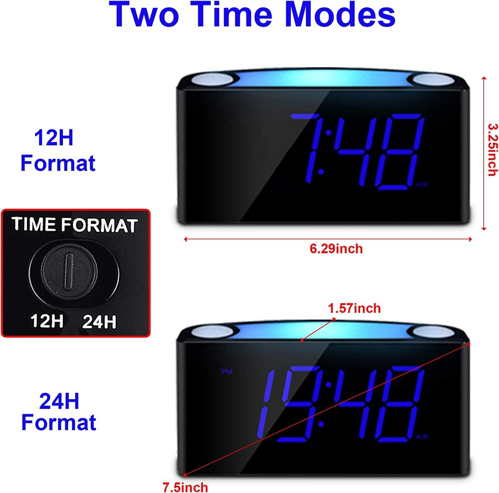 """Alarm Clock for Bedrooms - 7 Color Night Light,2 USB Chargers, 7"""" Large LED Display with Slider Dimmer, 12/24 H,Battery Backup, Plug-in Loud Alarm Clock for Heavy Sleeper,Teen,Elderly, Boys&Girls Kids"""