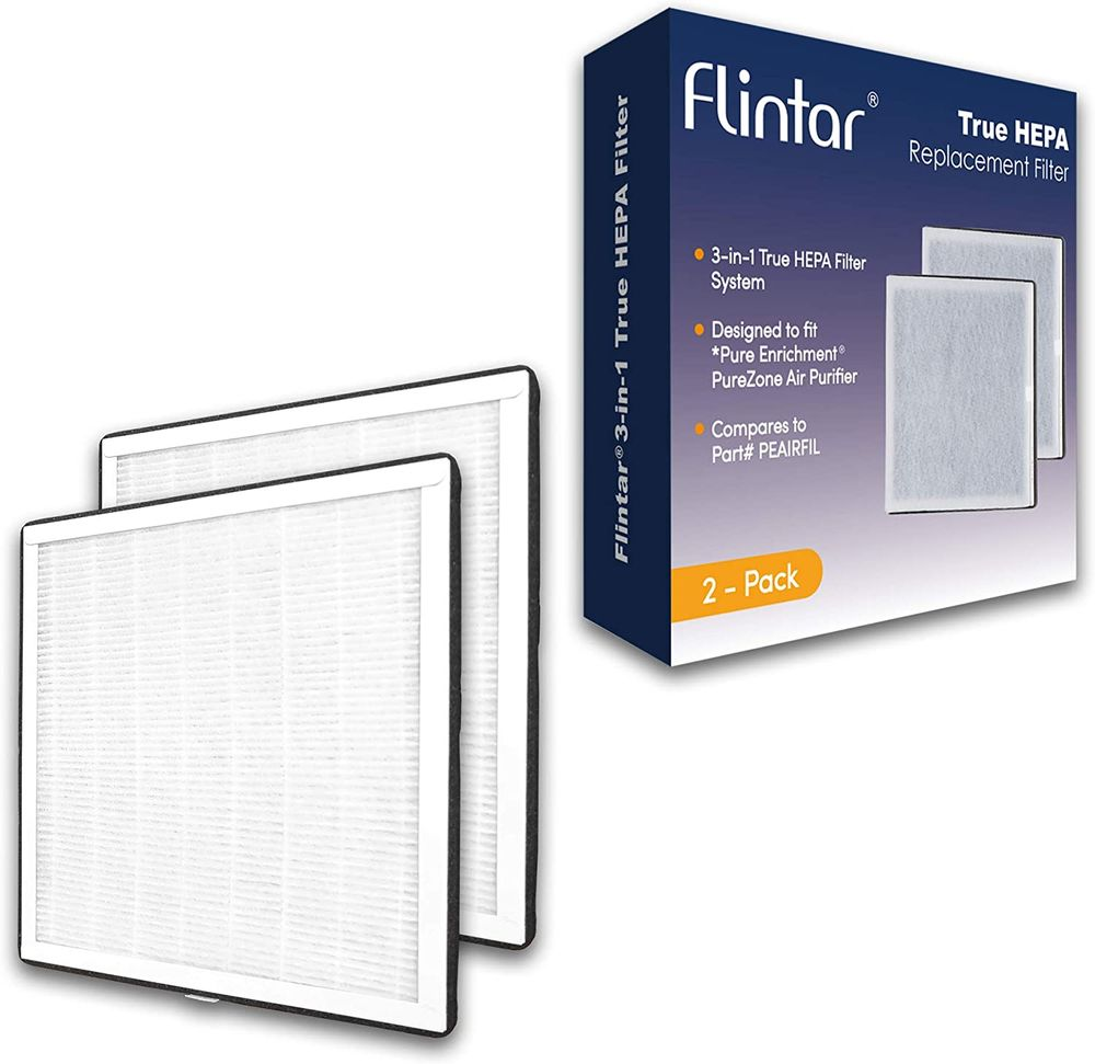 Flintar High Efficiency 3-in-1 H13 Grade True HEPA Replacement Filter, Compatible with Pure Enrichment PureZone Air Purifier Only, Part # PEAIRFIL, 2-Pack