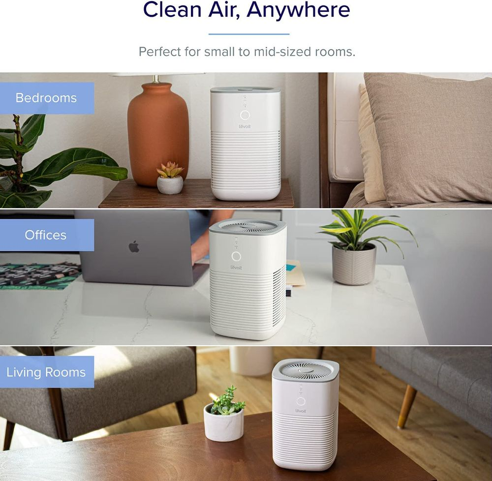 LEVOIT Air Purifier for Home Bedroom, HEPA Air Fresheners Filter, Small Room Air Cleaner with Fragrance Sponge for Smoke, Allergies, Pet Dander, Odor, Dust Remover, Office, Desktop, Table Top (1 Pack)
