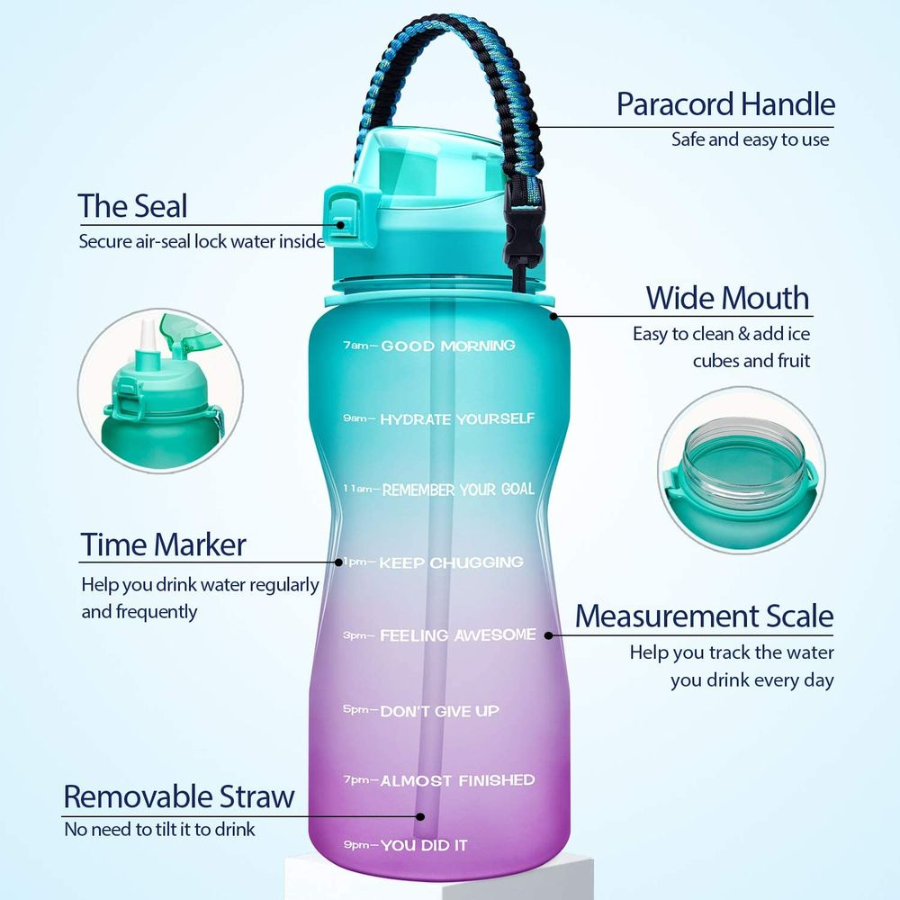 Giotto Large Half Gallon/64OZ Motivational Water Bottle with Paracord Handle & Straw - Leakproof Tritan BPA Free Fitness Sports Water Jug with Time Marker to Ensure You Drink Enough Water Daily