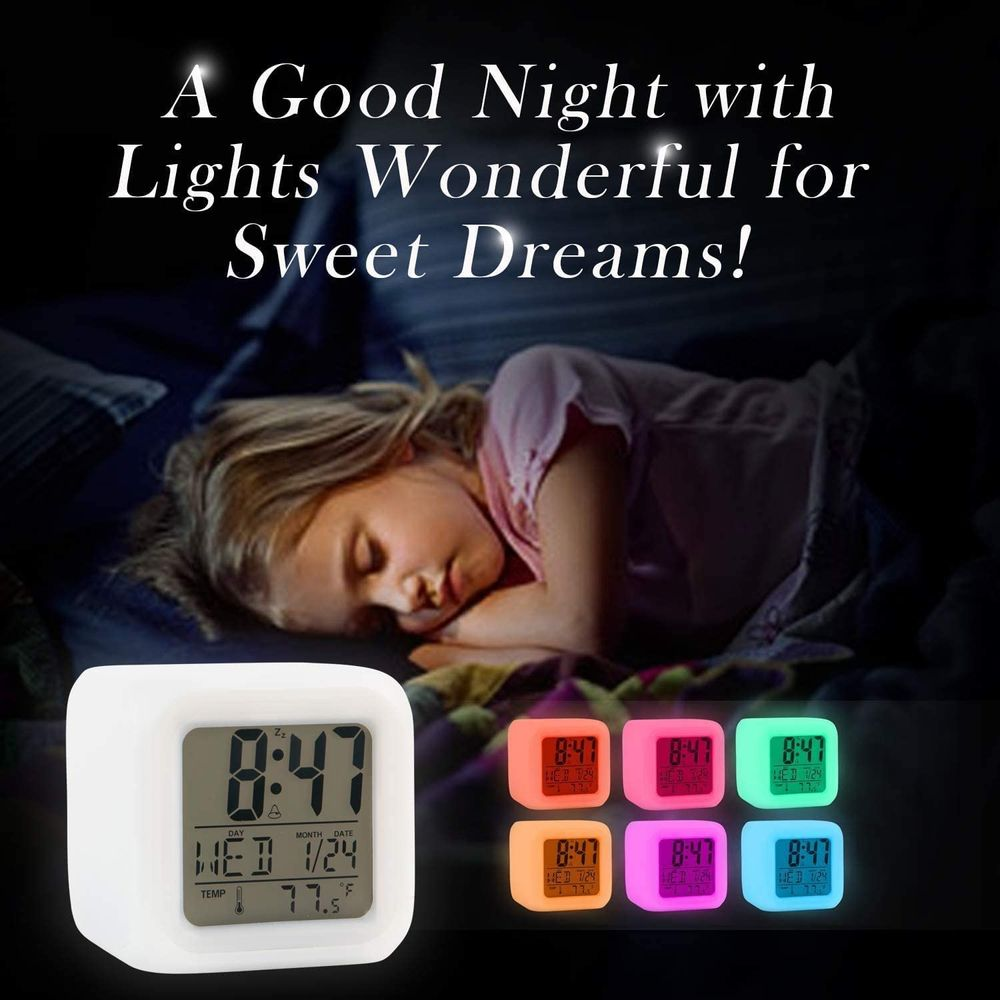 Kids Alarm Clock Wake Up Easy Setting Digital Travel, for Boys Girls, Large Display Time-Date-Alarm with Snooze, Bedside Clock Handheld Size, LED Night Light Clock - Great Gift Idea