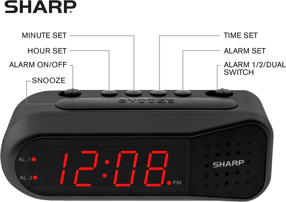 Sharp Digital Alarm Clock - Ascending Alarm Begins Faintly and Grows Increasing Louder, Gentle Wake Up Experience, Dual Alarm - Battery Back-up, Easy to Use with Simple Operation (Black - Blue LED)