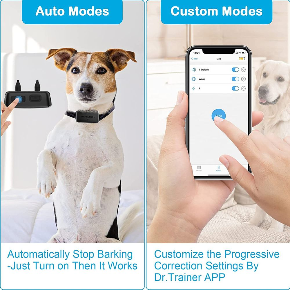 B1s Bark Collar with App Control, Waterproof Dog Barking Collar with Intelligent Safe Bark Control, Effective Sound, Vibration and No Harm Shock Rechargeable Dog Training Collar
