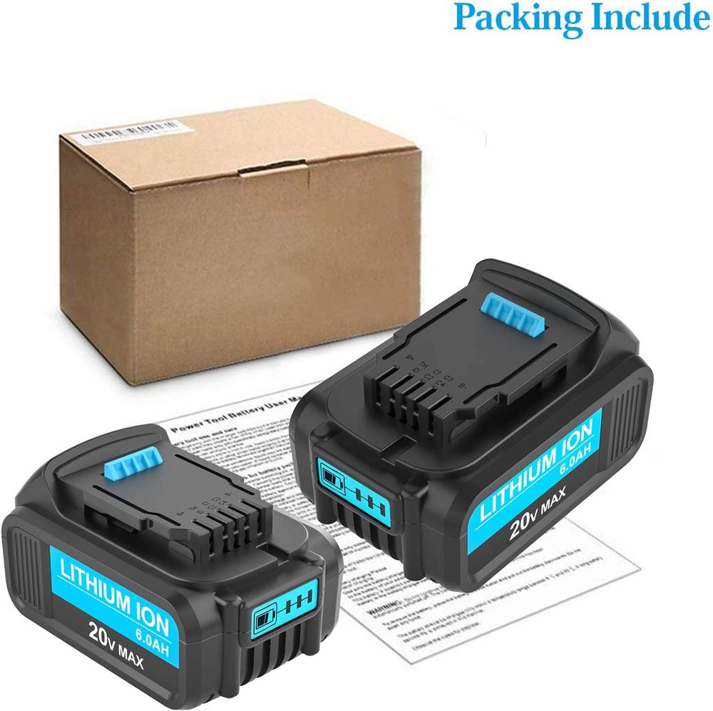 2 Packs 6.0Ah DCB206 Replacement Battery Compatible with Dewalt 20V Battery Lithium DCB200 DCB201 DCB203 DCB204 DCB205 CB207 Compatible with Dewalt 20 Volt DCD/DCF/DCG/DCS Series Tools