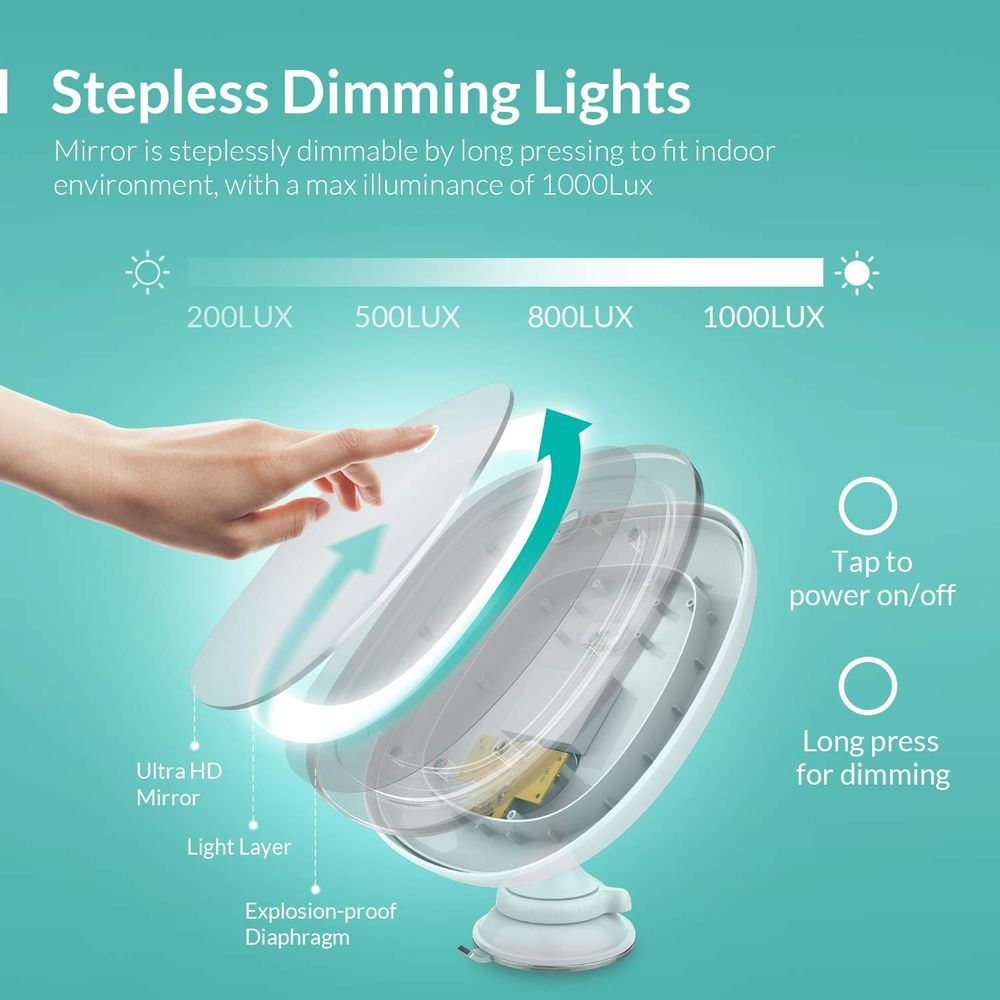 EASEHOLD Lighted Makeup Mirror, Rechargeable 7X Magnifying Vanity Mirror with Powerful Suction Cup, Touch Control Portable Hand Cosmetic Magnification Shaving Mirror for Tabletop Bathroom Travel
