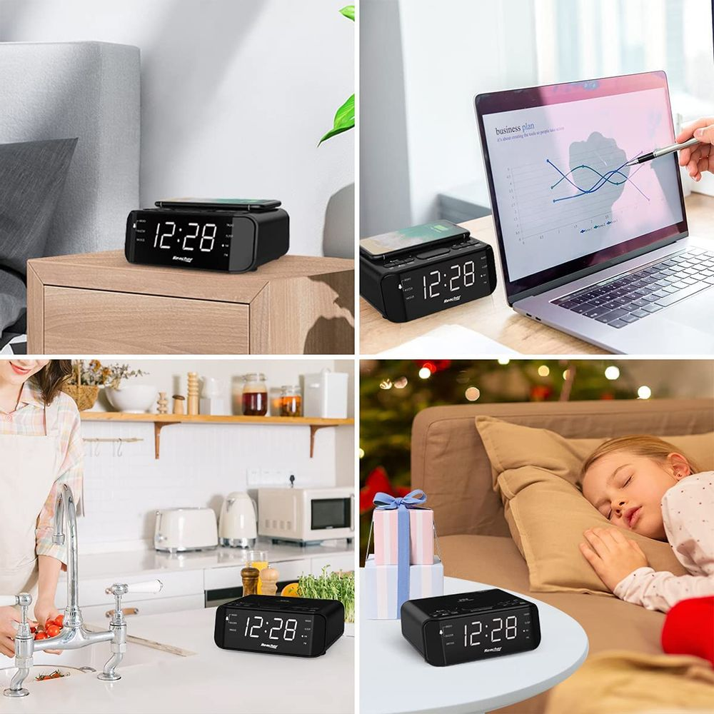 REACHER Digital Radio Alarm Clock with Wireless Charging - USB Port, Large Dimmable LED Display, Sleep Timer, 2 Wake up Sounds, Adjustable Loud Volume, Snooze, 12/24H, Modern FM Clock for Bedrooms
