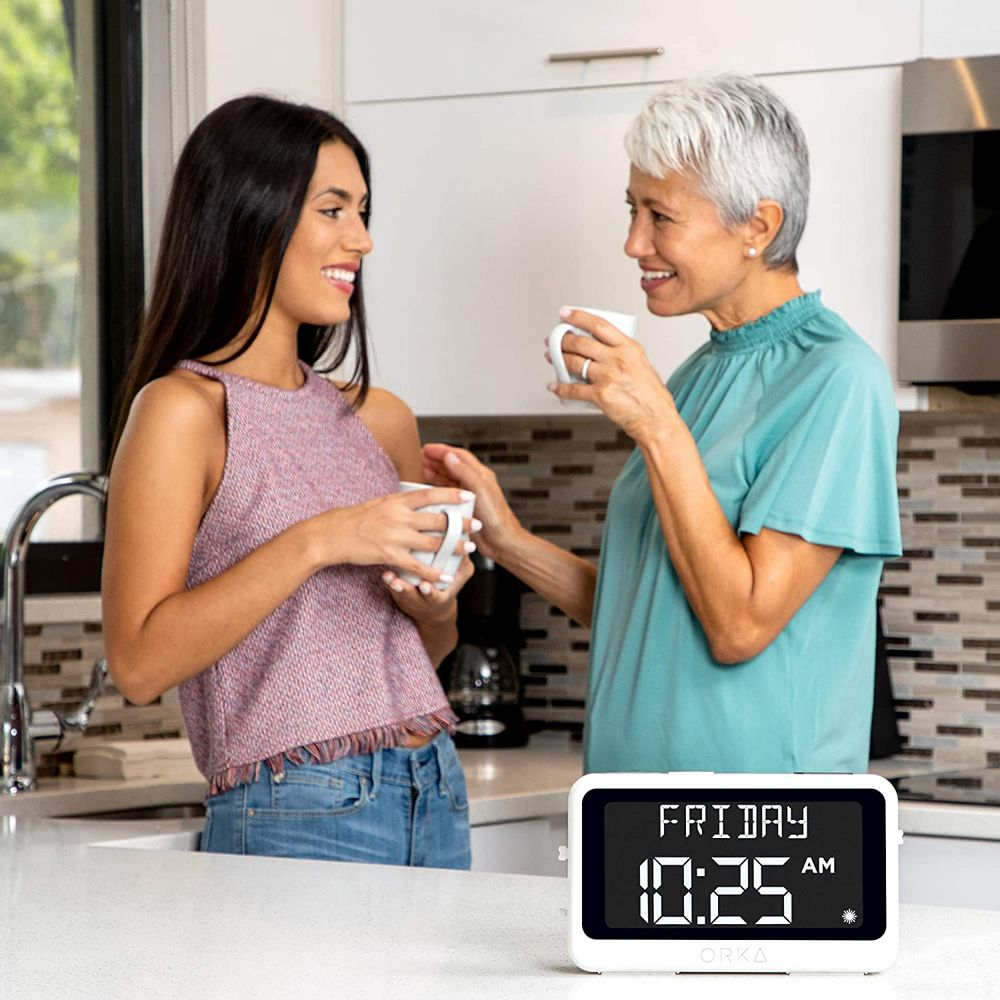 """ORKA Talking Clock for Seniors 2021. Voice Recordable. Very Large Loud Digital Day Alarm Clock 8 Alarms Date,Day & Time Dementia 8"""" Display Medication Reminder Elderly Hearing Impaired Talking Madi"""
