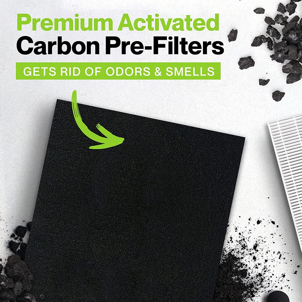 Durabasics HEPA 13 Filters for HPA300 Honeywell Air Purifier Filters & Honeywell HPA300 - 3 HEPA Filters & 4 Pre-Cut Activated Carbon Pre Filters - Replacements for Honeywell Filter R & HPA300 Filter