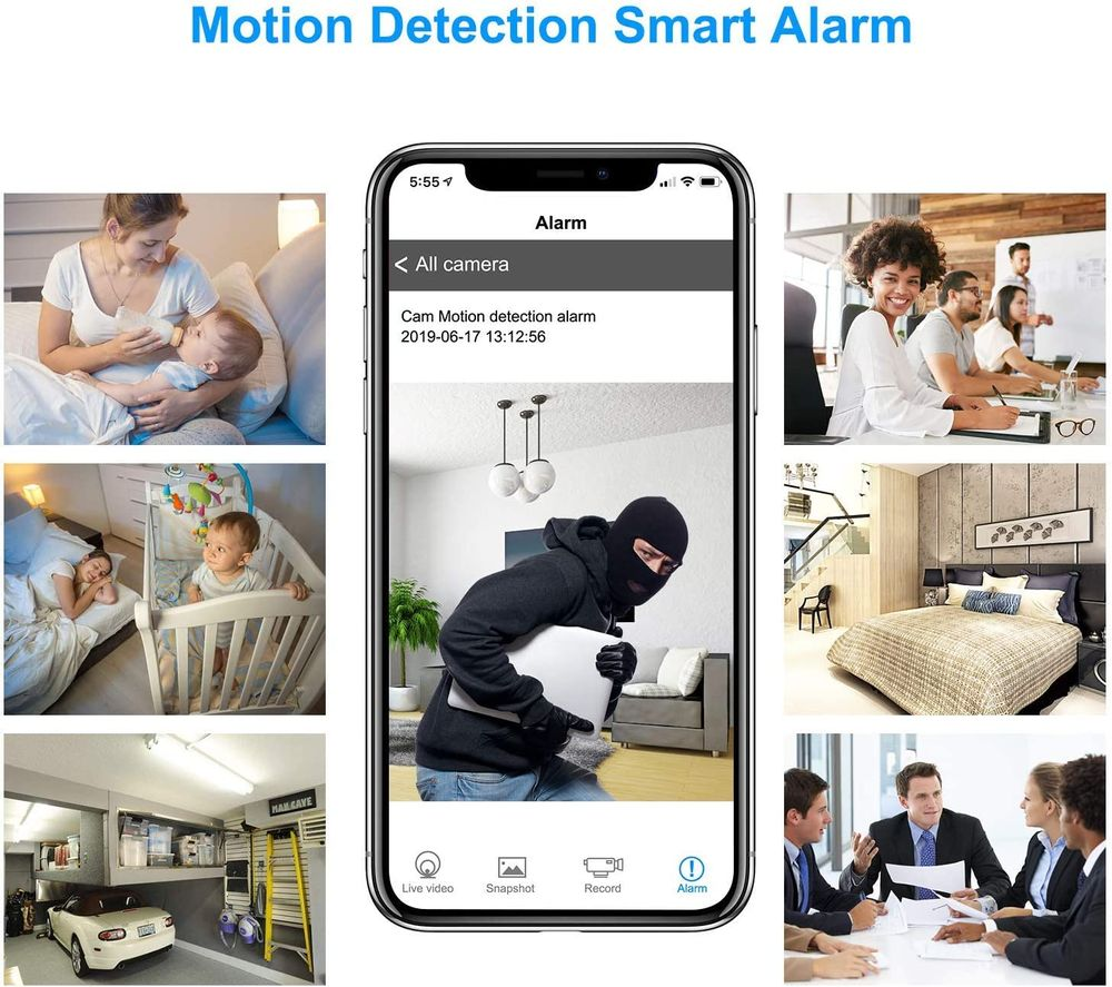 Mini Hidden Camera, WiFi Spy Camera Clock 1080P HD Wireless Small Nanny Cam for Home Security Monitor Video Recorder 150 Angle Night Vision Motion Detection Real-time Remote Monitoring Power Bank