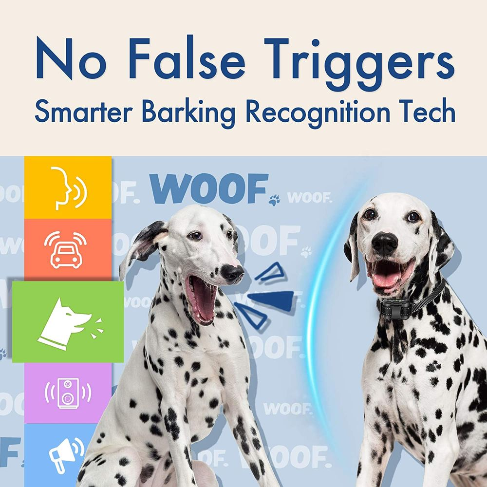 Dog Bark Collar - Rechargeable Shock Collar for Dogs in Medium and Large Sizes, No Barking Collar with 5 Adjustable Sensitivity, Beep, Vibration, Shock Modes, Humane Auto Bark Correction