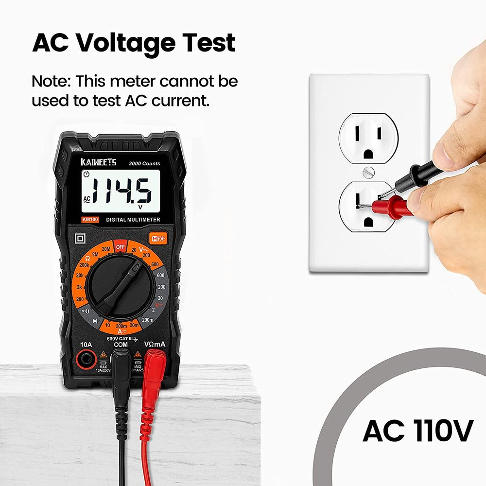 KAIWEETS Digital Multimeter with Case, DC AC Voltmeter, Ohm Volt Amp Test Meter and Continuity Test Diode Voltage Tester for Household Outlet, Automotive Battery Test (Anti-Burn with Double Fuses)