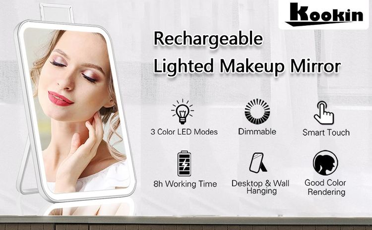 Rechargeable lighted makeup mirror with lights