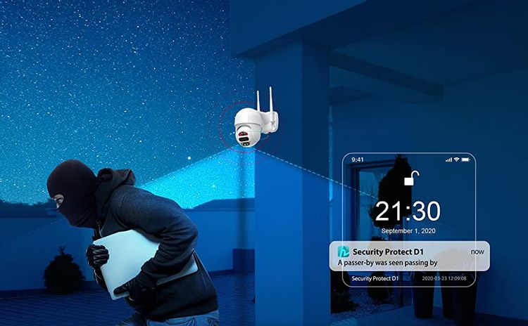 HeimVision Protect D1 Security Camera Outdoor with Motion Detection and Message Alerts, Alarm